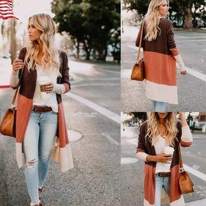 Sweaters - Long Cardigan Sweater Brown Tan and Orange